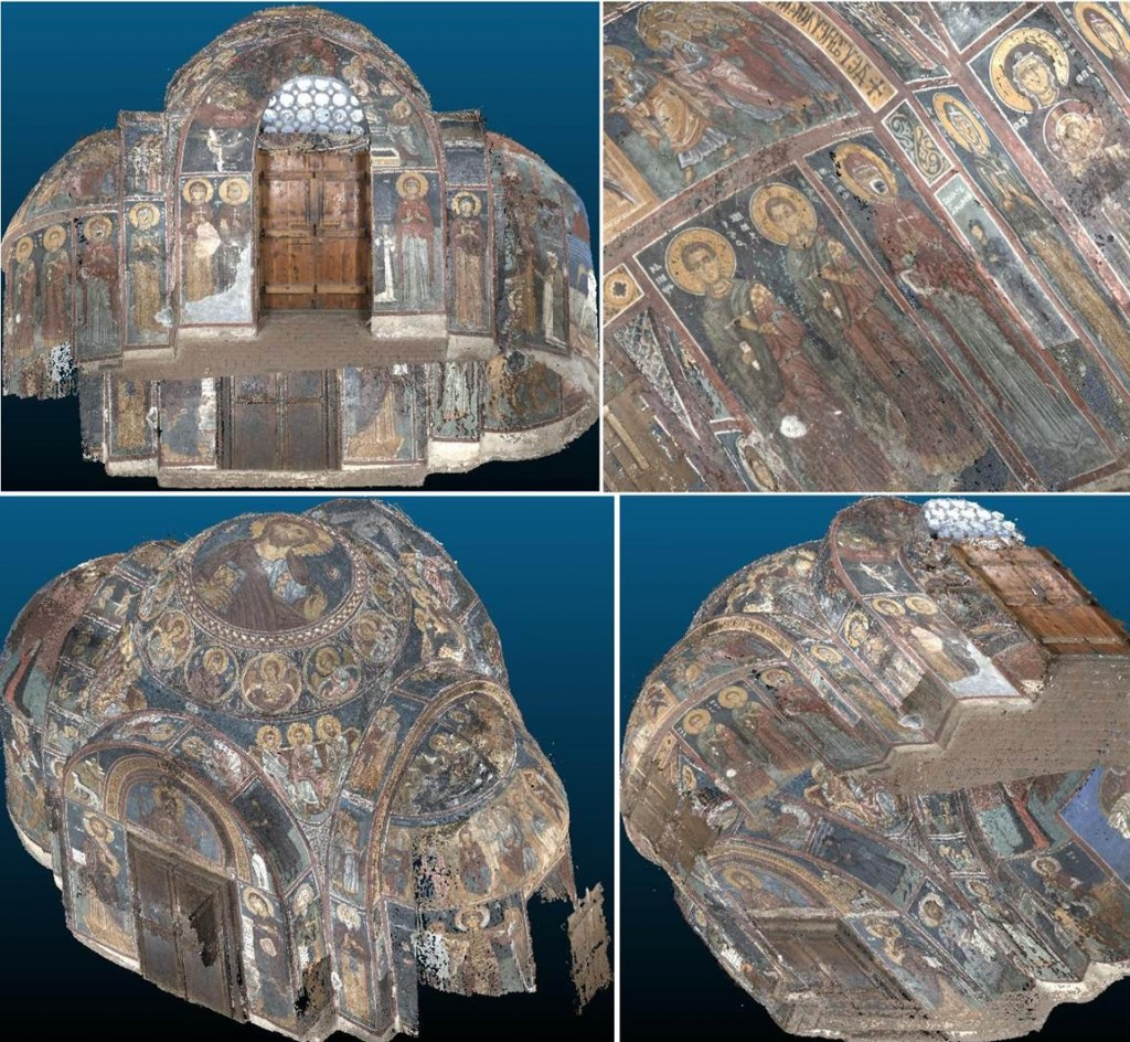 3D interior of Asinou Church, Cyprus